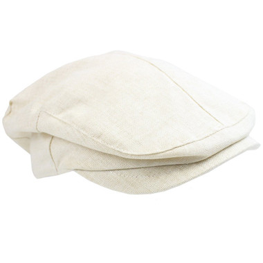 Cream Chambray Newsboy Baby Hat