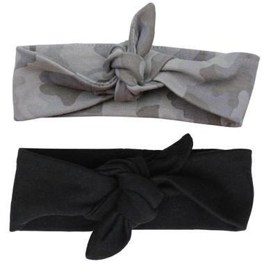 Gray Camo Black Baby Head Wrap Headband Gift Set
