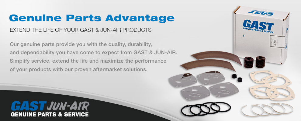 Genuine Gast and Jun-Air Service/Repair Kits, Replacement Parts and Accessories.