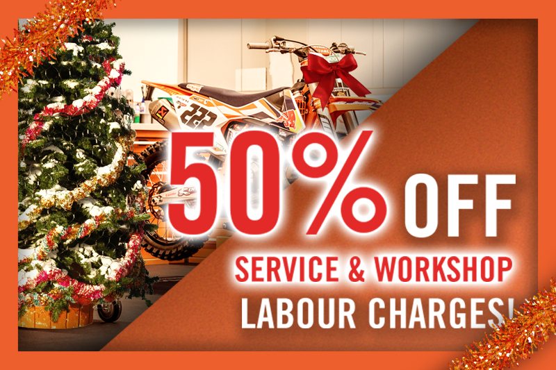50% OFF SERVICE AND WORKSHOP LABOUR CHARGES!