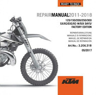 KTM OEM DVD Repair Manual 125/150/200/250/300  SX/XC/EXC 2011-18