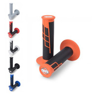 Handlebar Grip Clamp On Half Waffle (Black, Blue/Black, Grey/Grey, Orange/Black, Red/Black, White/Black)
