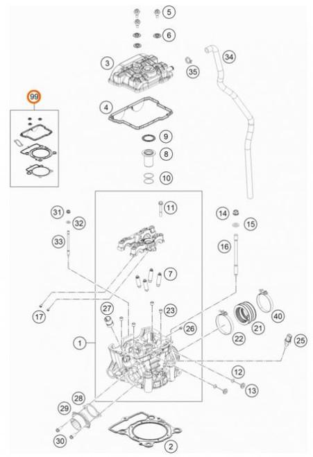 KTM OEM Cylinder Gasket Set SX-F/FC 350 16> and EXC-F/FE 350 17> (79330097000)