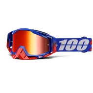 100% RACECRAFT GOGGLES - REPUBLIC - MIRROR RED LENS