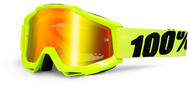 100% ACCURI GOGGLES - FLO YELLOW - MIRROR RED LENS