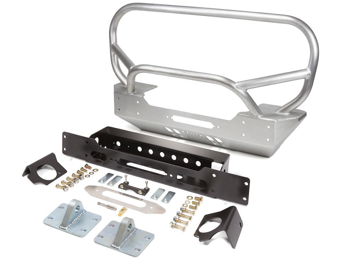 JK Low Profile Winch Guard w/ Grill Bar Front Bumper - Aluminum