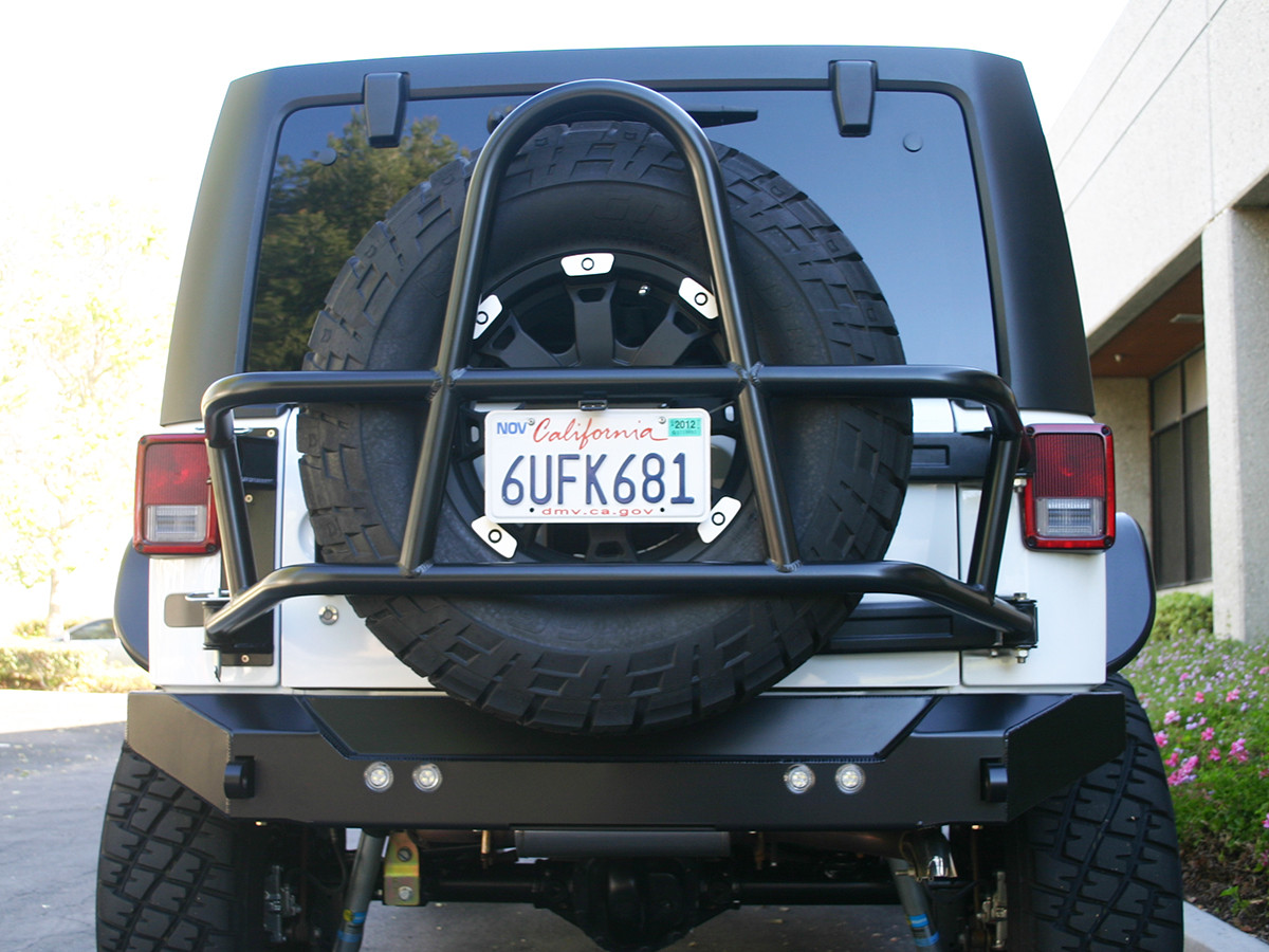 Jeep JK Swing Out Rear Tire Carrier & Bumper Package (Steel) Powder Coated Black