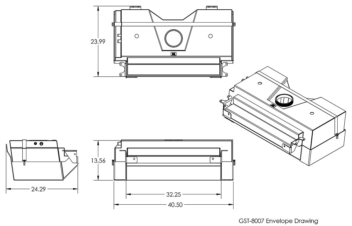 Dimensions of the GenRight 35 gallon Fuel tank for the Elite Suspension