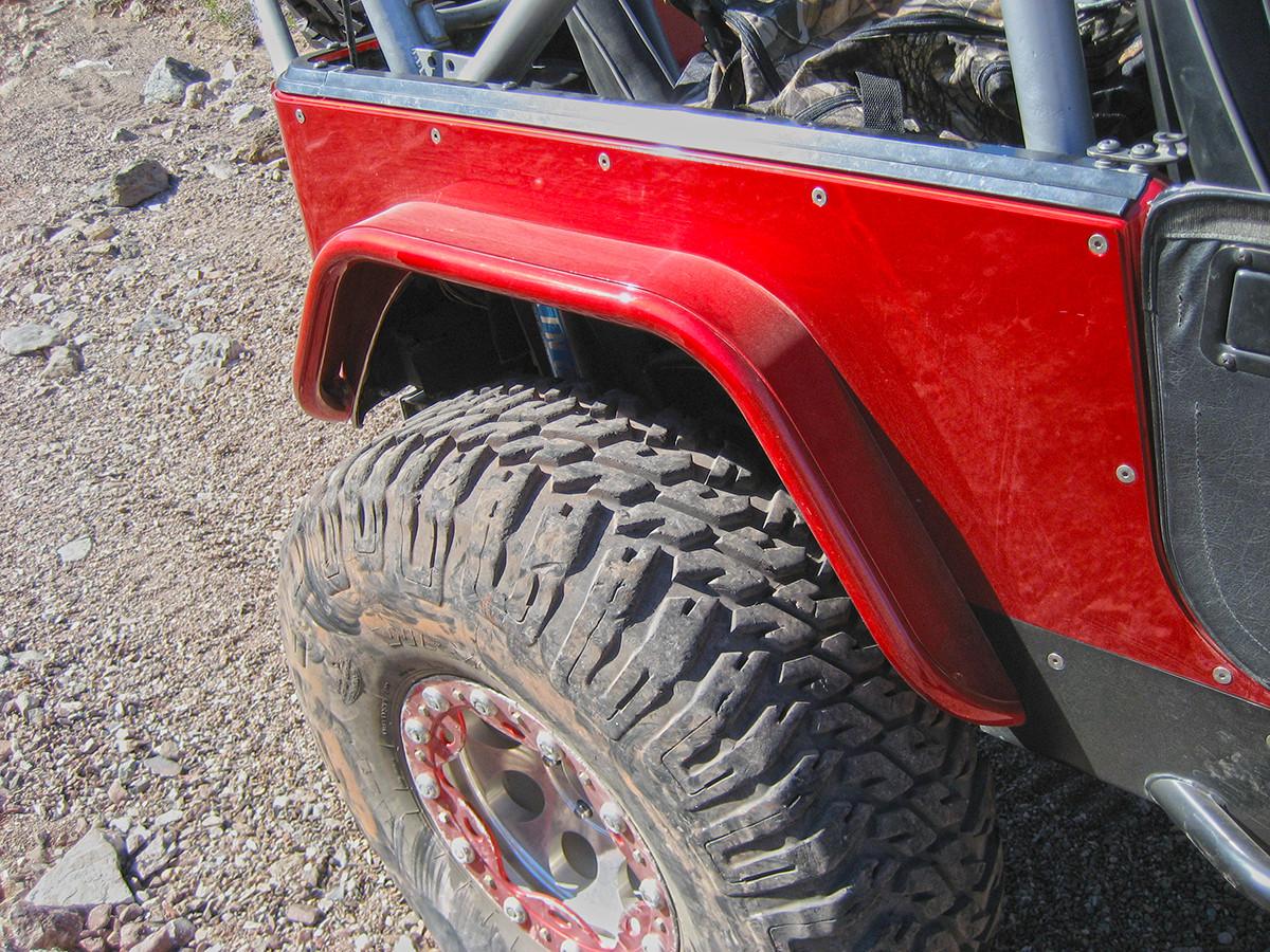 "Jeep TJ/LJ/YJ/CJ 4"" Flare Rear Tube Fenders - Steel Powder Coated Red"