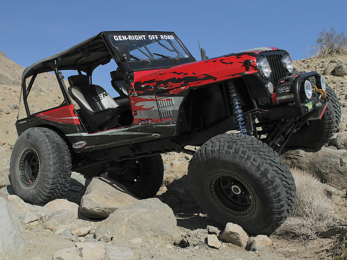 On-trail view of GenRight Off Road Jeep CJ-7 Full Roll Cage Kit