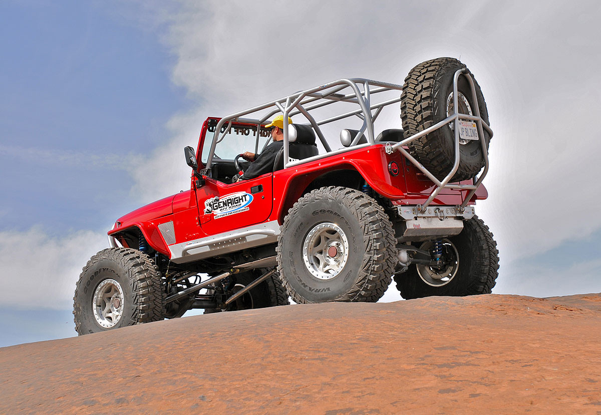 The GenRight YJ cage fits under hard or soft tops too!