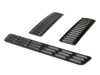 Hood Louver Set, 3pc Long - Black
