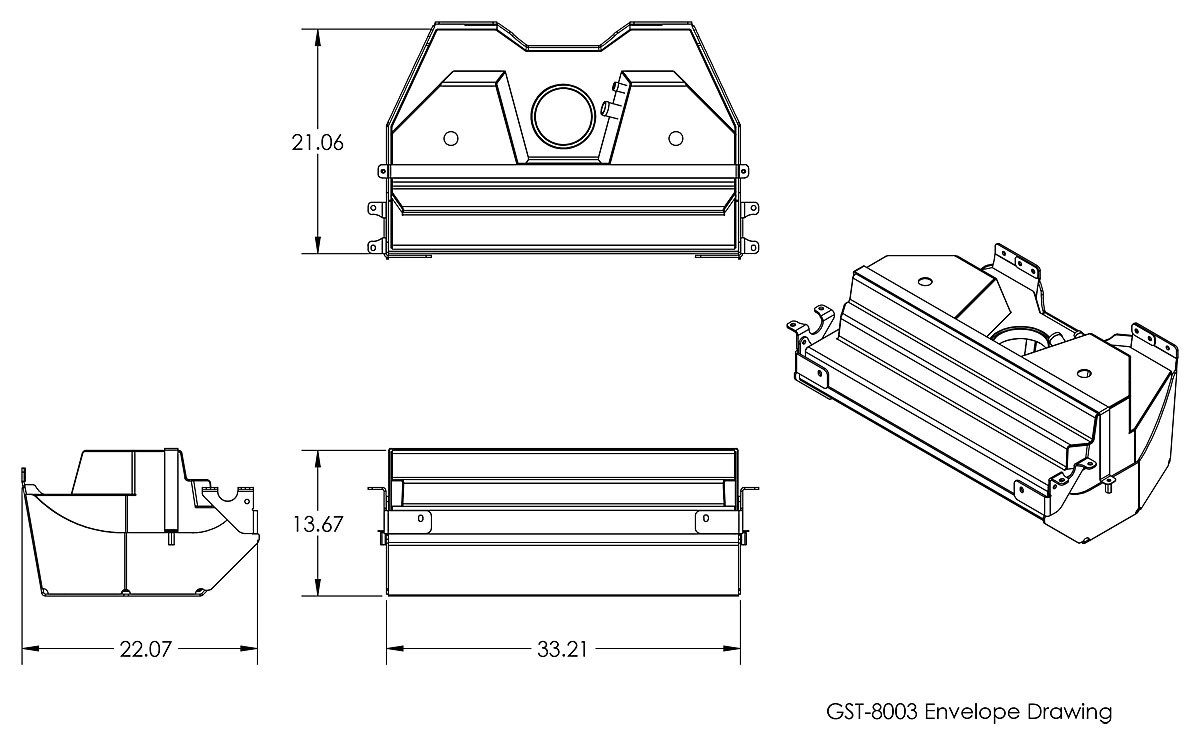 Dimensions for the GenRight 25 gallon Fuel tank for the Jeep Wrangler JK