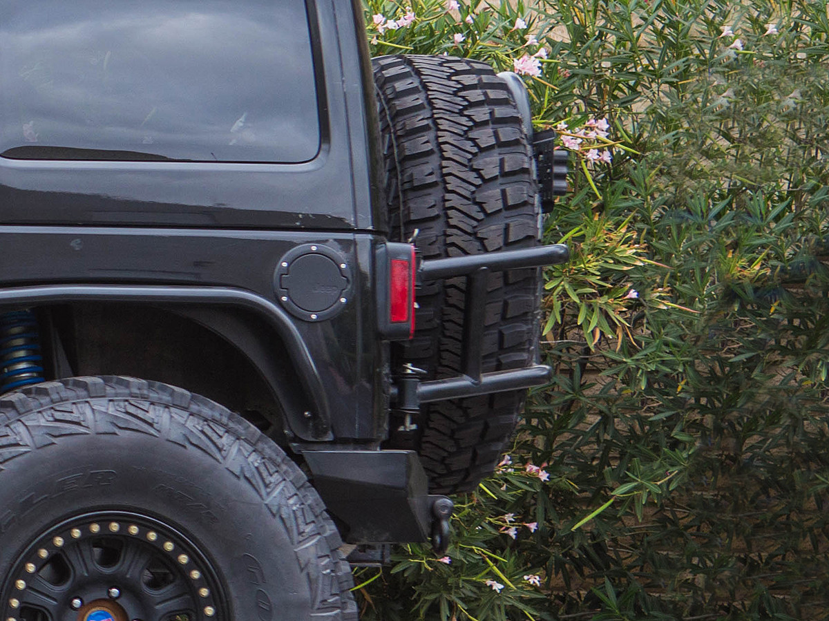 JK Swing Out Rear Tire Carrier Powder Coated Black Side View