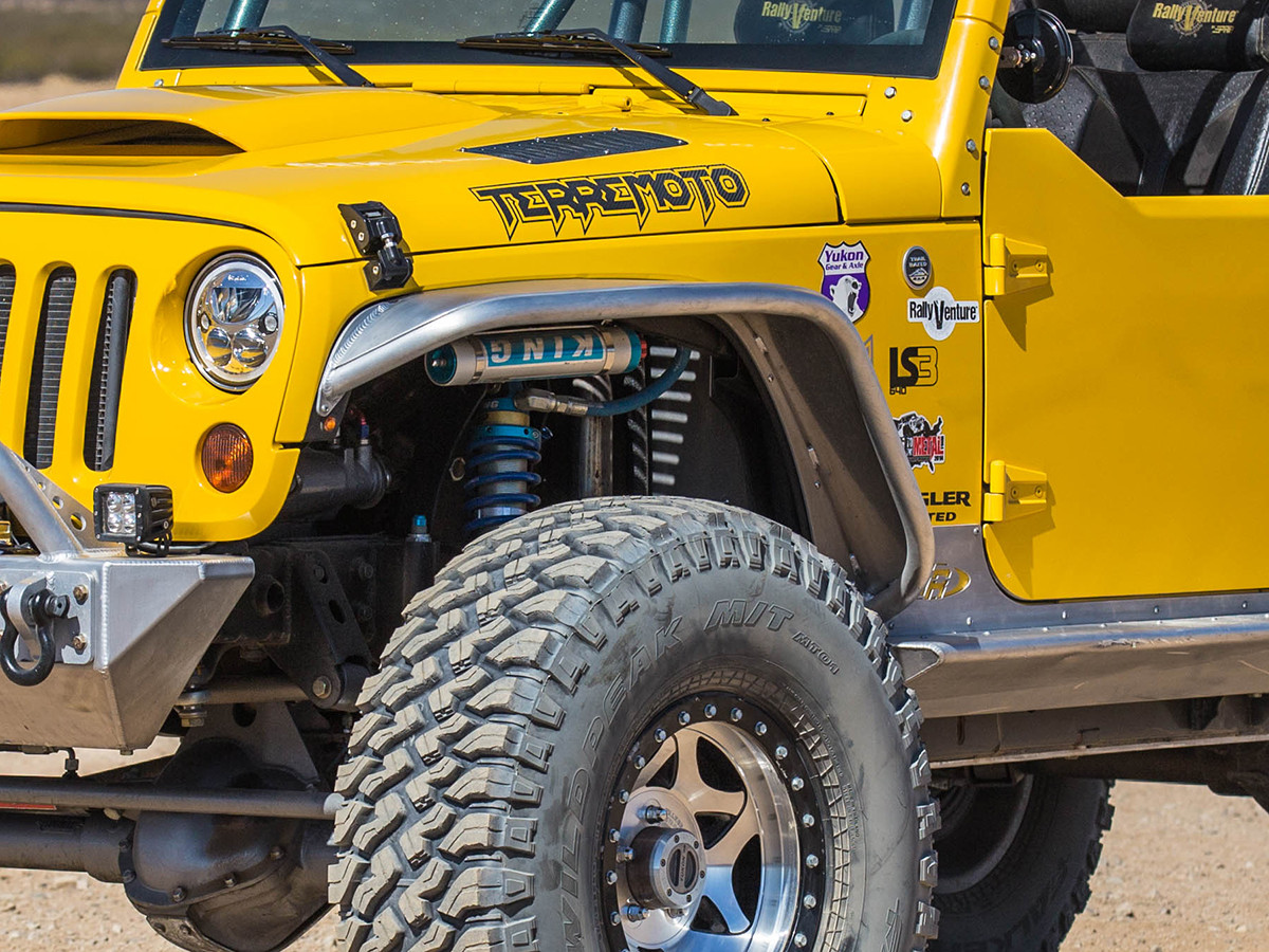 """JK 4"""" Flare Front Tube Fenders - Aluminum with 38"""" tires"""