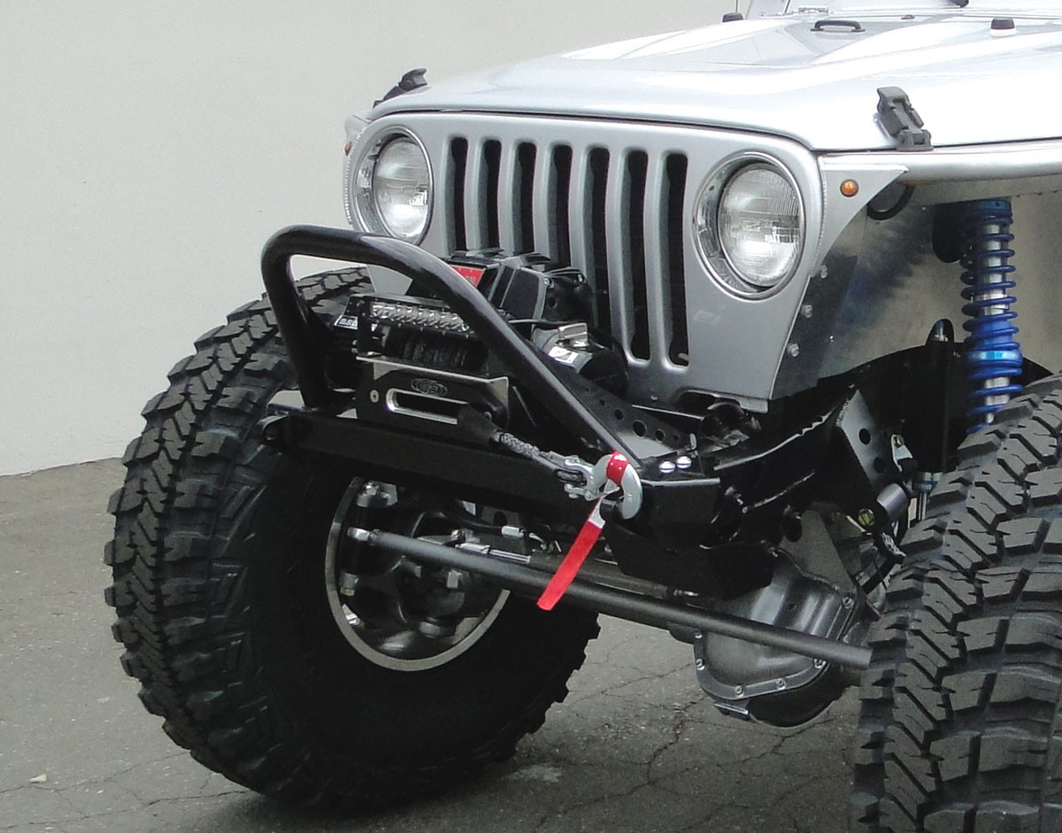 TJ Winch Guard Front Bumper in Steel, powder coated & installed