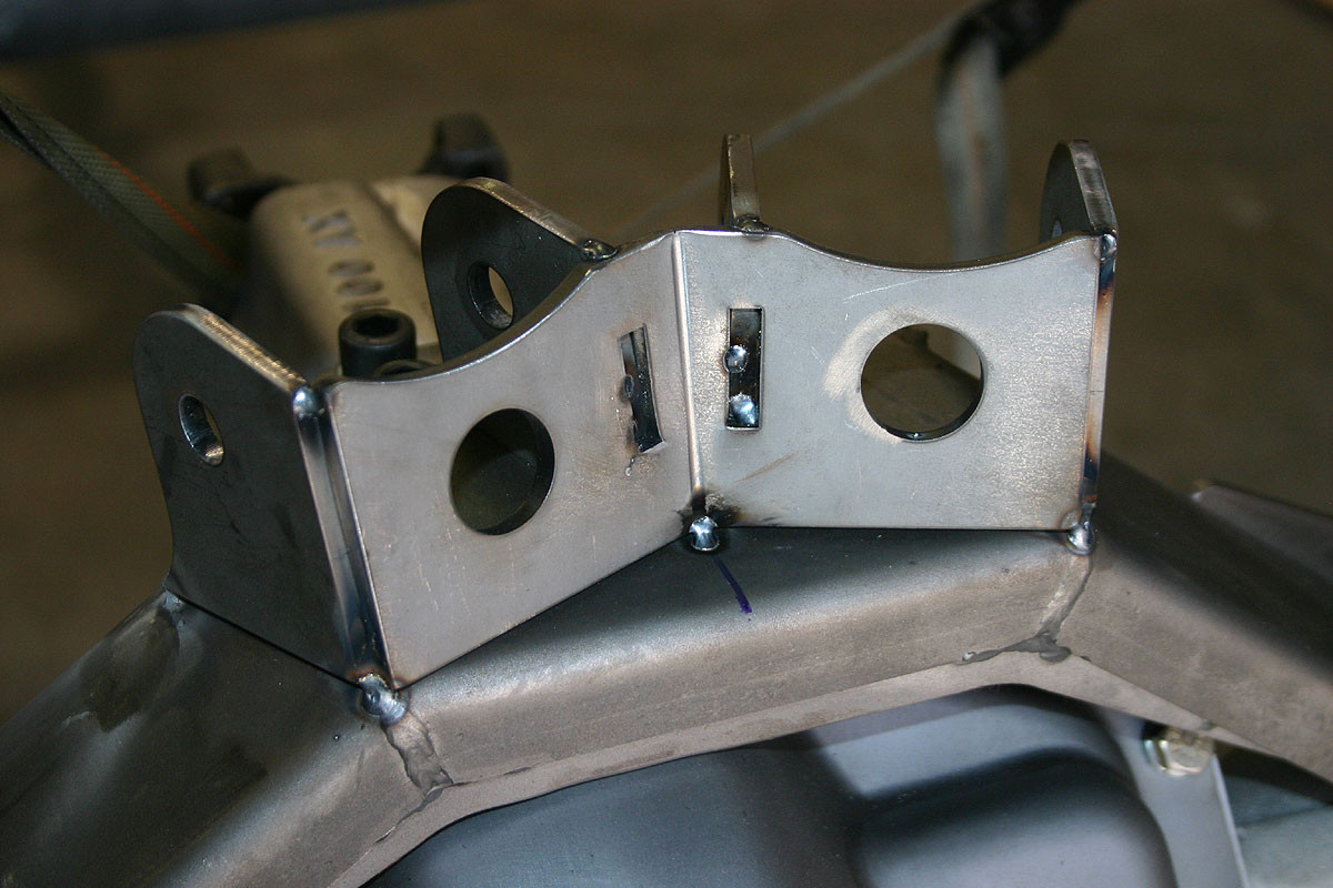 GenRight's Upper Rear Control Arm Mount for a Currie Rock Jock bridge tacked together.