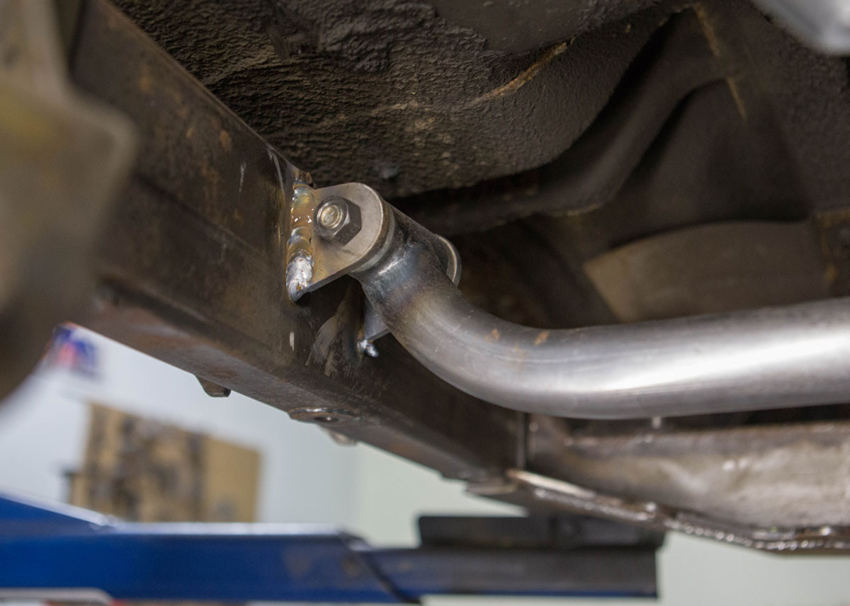 Drop in GenRight cross member provides clearance for your exhaust.