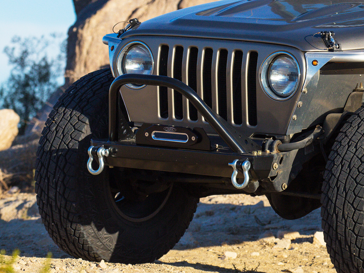 YJ Winch Guard Front Bumper - Aluminum (Installed)