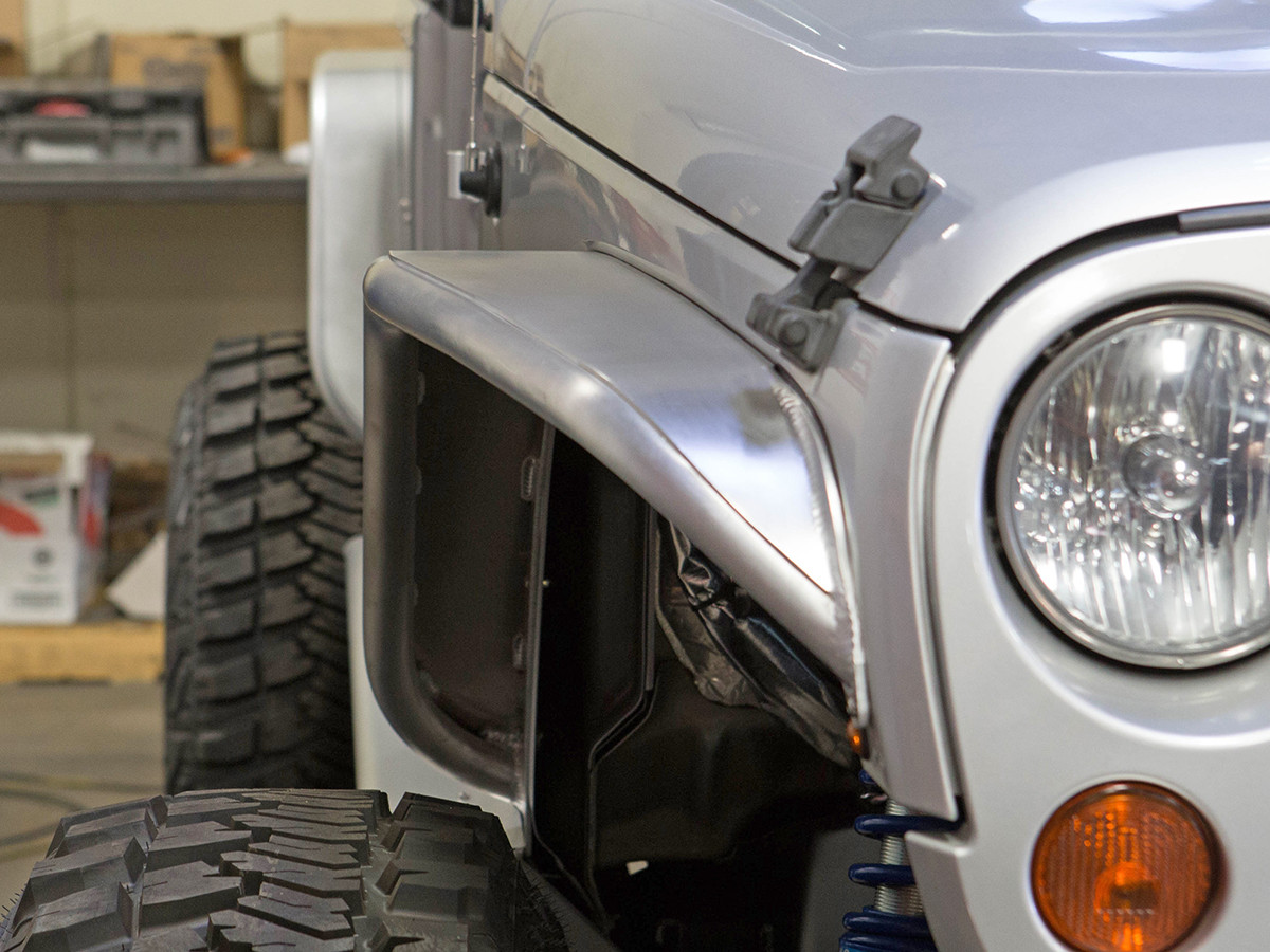 Jeep JK Narrow Front Tube Fenders - Aluminum front view