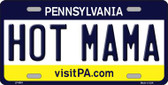 Hot Mama Pennsylvania State Background Novelty Wholesale Metal License Plate