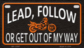 Lead Follow Or Get Out Wholesale Metal Novelty Motorcycle License Plate MP-11667