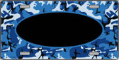 Pattern Blue Camo With Black Center Oval Wholesale Metal Novelty License Plate
