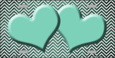 Mint White Small Chevron Hearts Print Oil Rubbed Wholesale Metal Novelty License Plate