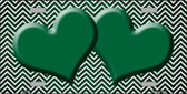 Green White Small Chevron Hearts Print Oil Rubbed Wholesale Metal Novelty License Plate