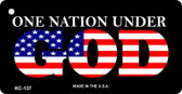 One Nation Under God Mini License Plate Metal Novelty Key Chain