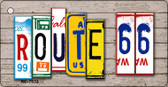Route 66 License Plate Art Wood Pattern Metal Novelty Key Chain