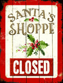 Santas Shop Closed Wholesale Metal Novelty Parking Sign