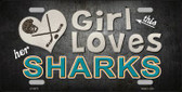 This Girl Loves Her Sharks Novelty Wholesale Metal License Plate