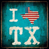 I Love Texas Wholesale Novelty Metal Square Sign