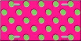 Lime Green Polka Dots Hot Pink Wholesale Metal Novelty License Plate