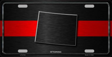 Wyoming Thin Red Line Wholesale Metal Novelty License Plate