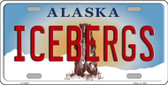 Icebergs Alaska State Background Novelty Wholesale Metal License Plate