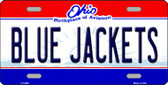 Blue Jackets Ohio Novelty State Background Wholesale Metal License Plate LP-2294
