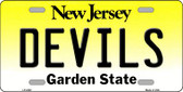 Devils New Jersey Novelty State Background Wholesale Metal License Plate LP-2302