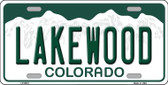 Lakewood Colorado Background Wholesale Metal Novelty License Plate