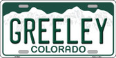 Greeley Colorado Background Wholesale Metal Novelty License Plate