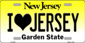 I Love Jersey New Jersey Background Wholesale Metal Novelty License Plate