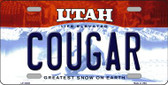 Cougar Utah Background Wholesale Metal Novelty License Plate