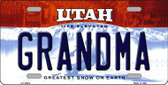 Grandma Utah Background Wholesale Metal Novelty License Plate