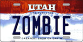 Zombie Utah Background Wholesale Metal Novelty License Plate