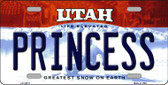 Princess Utah Background Wholesale Metal Novelty License Plate
