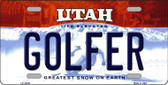 Golfer Utah Background Wholesale Metal Novelty License Plate