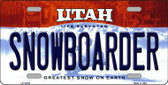 Snowboarder Utah Background Wholesale Metal Novelty License Plate
