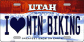I Love Mtn Biking Utah Background Wholesale Metal Novelty License Plate