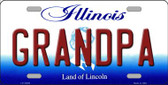 Grandpa Illinois Background Wholesale Metal Novelty License Plate